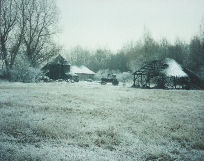 field dressed with powderfrost