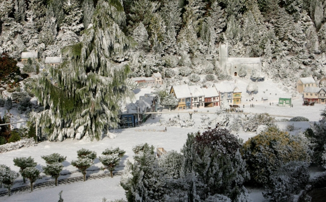 snowcel on miniature village